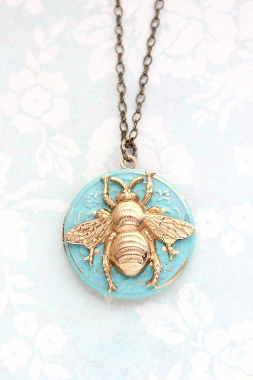 "Aqua And Gold Bee Locket-24"" chain"