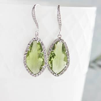 Leaf Green Sparkle Earrings