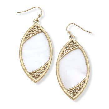 Earrings In White Mother Of Pearl Shell