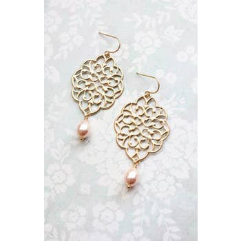 Gold Filigree Peach Pearl Earrings