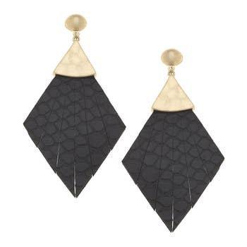 Statement Earrings In Black Leather