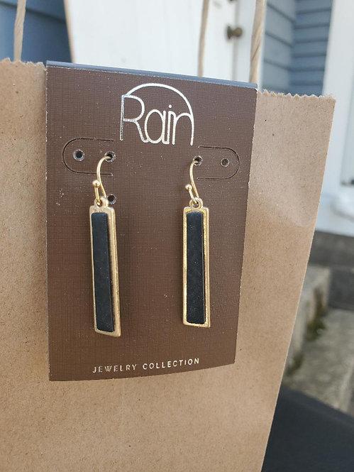 Black and Gold Bar Earrings