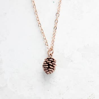 Tiny Pine Cone Necklace Rose Gold