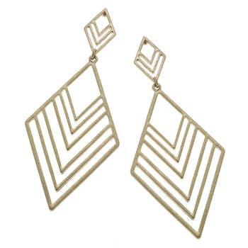 Linked Chevron Earrings In Worn Gold