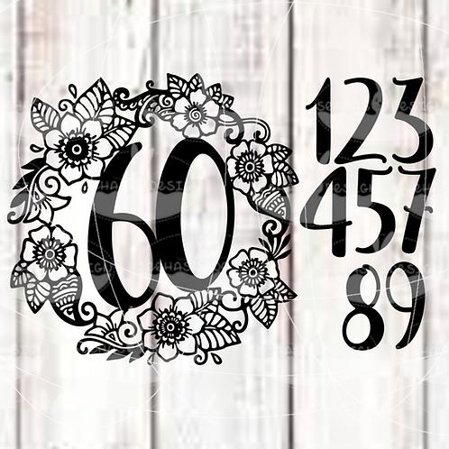Plotterdatei Blumenkranz mit Zahlen