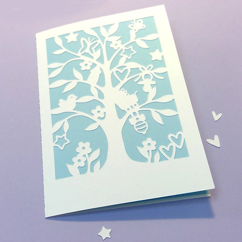 Plotterdatei Karte Baby Baum
