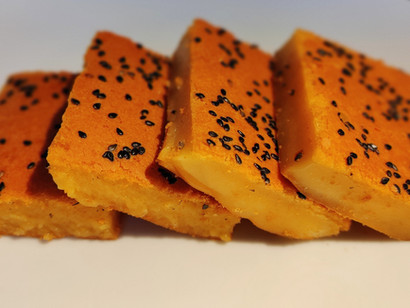 Klebreiskuchen mit Süßkartoffeln