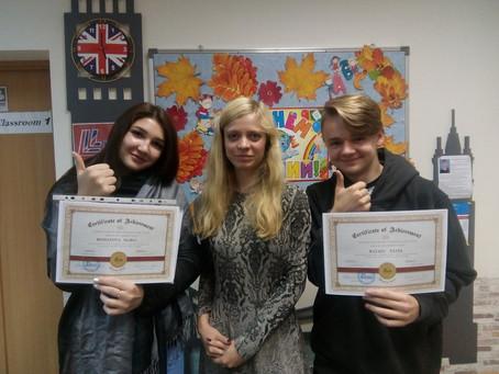 Поздравляем учеников с получением сертификатов уровня Pre-intrmediate!