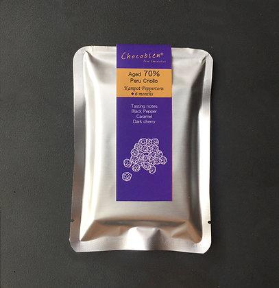 Aged 70% Peru Criollo Kampot Peppercorn Chocolate Bar