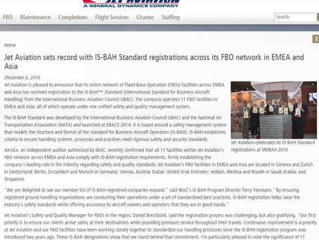 Jet Aviation registered to the IS-BAH Standard across its FBO network in EMEA and Asia