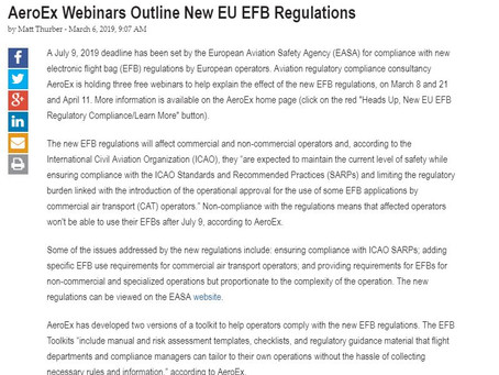 AeroEx Webinars Outline New EU EFB Regulations