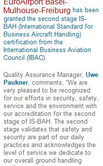 Air Service Basel FBO gained IS-BAH stage 2 Accreditation