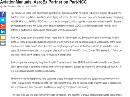 AviationManuals, AeroEx Partner on Part-NCC