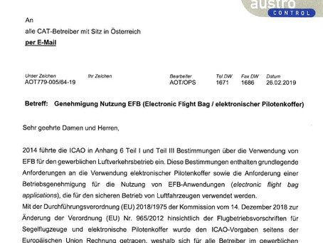 Notification to all AOC holders in Austria - EFB approval