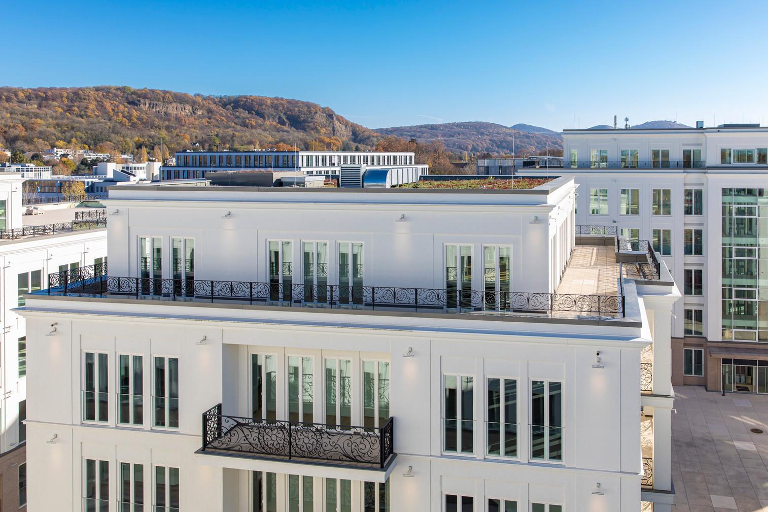 Blick auf das Siebengebirge und die Villa Rosa