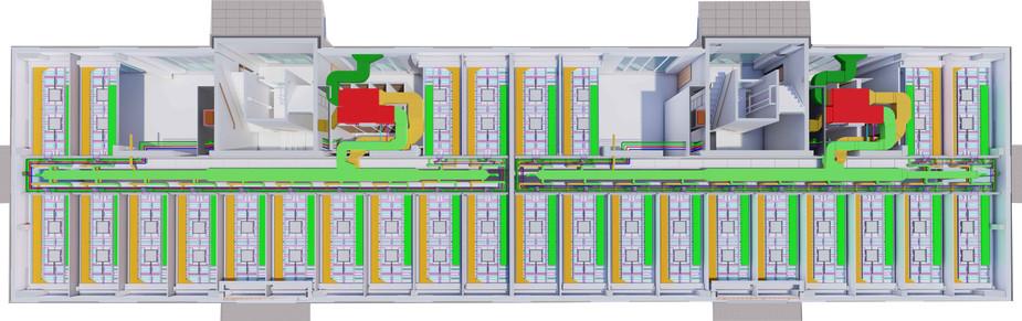 Die Lüftungssysteme für ein Haus und eine Etage in der technischen Darstellung