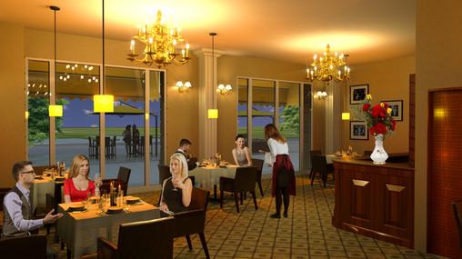 Ein Restaurant im Erdgeschoss der Häuser 3 und 4