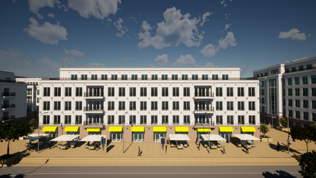 Blick auf Palais Clivia & Diadem vom Boulevard Rhein – Palais