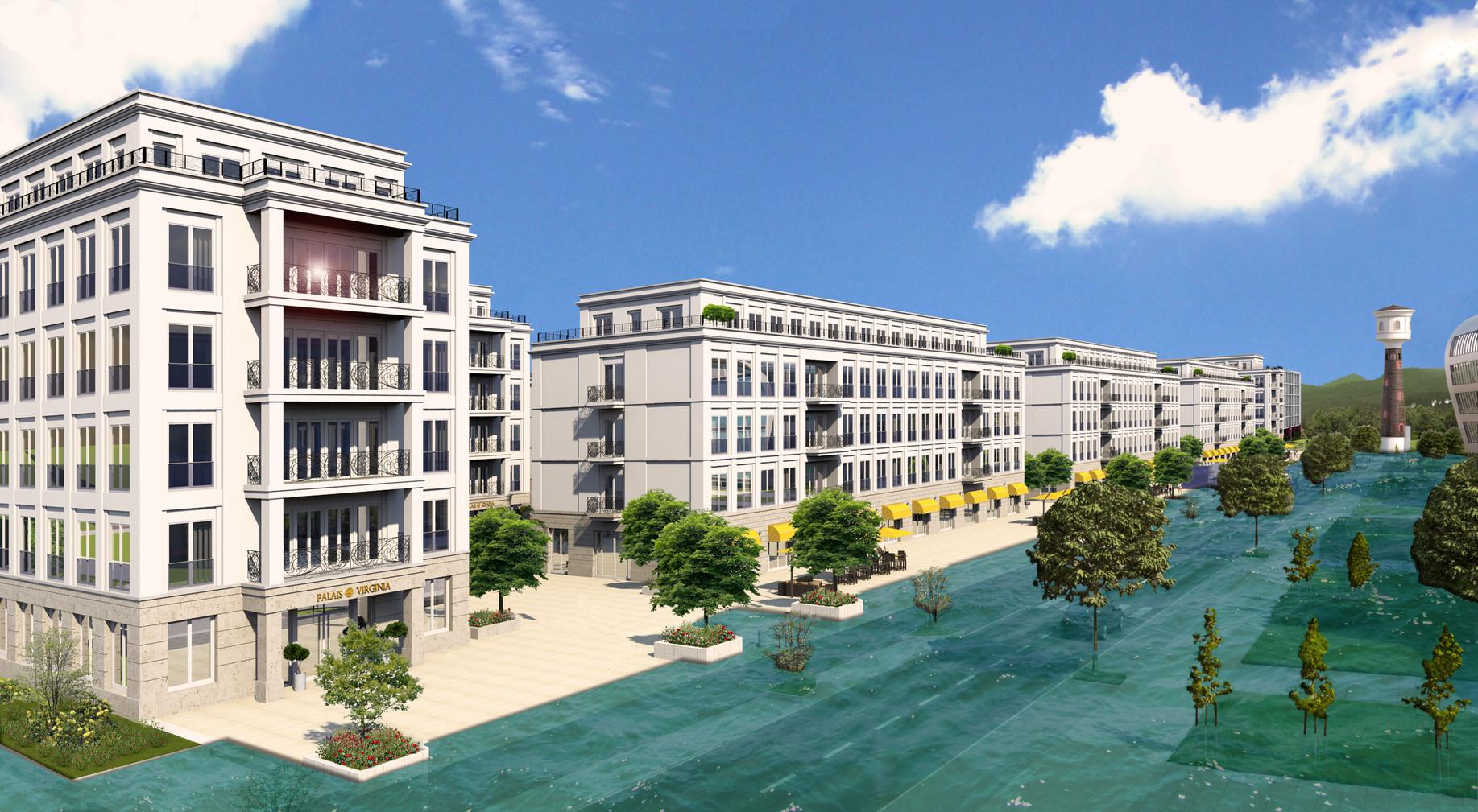 Die Rhein-Palais bei Hochwasser NN 57