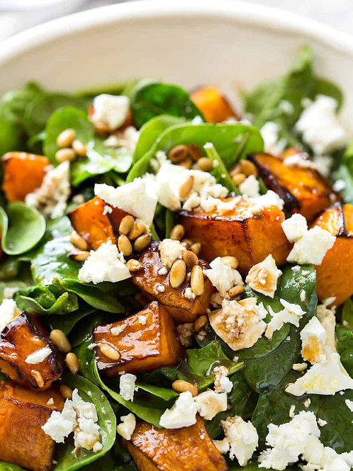 Pumpkin and feta salad with blue cheese dressing bulk catering size