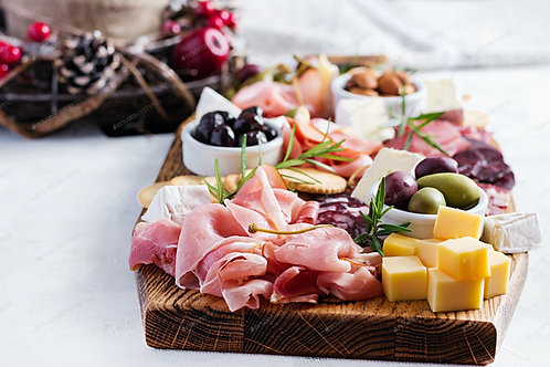 Antipasto, cheese and fruit platter