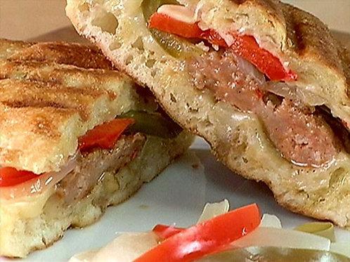 BBQ Italian sausage + panini (feeds 10)
