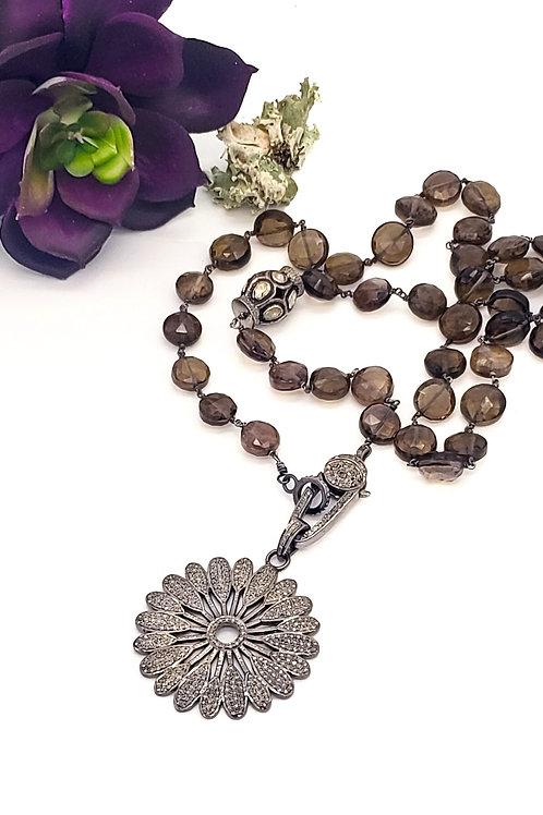 Brown Sapphire and Diamond Chain