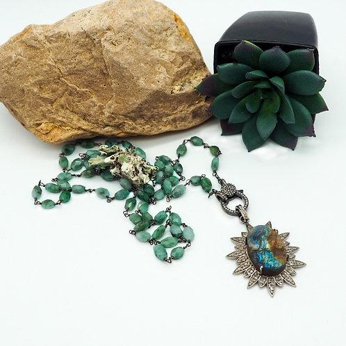 Emerald and Diamond Clasp Chain with Raw Labradorite Diamond Star