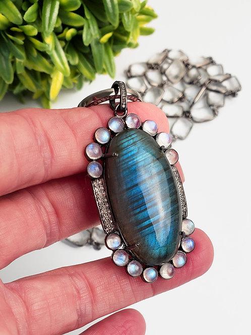 Labradorite/Moonstone Diamond Pendant