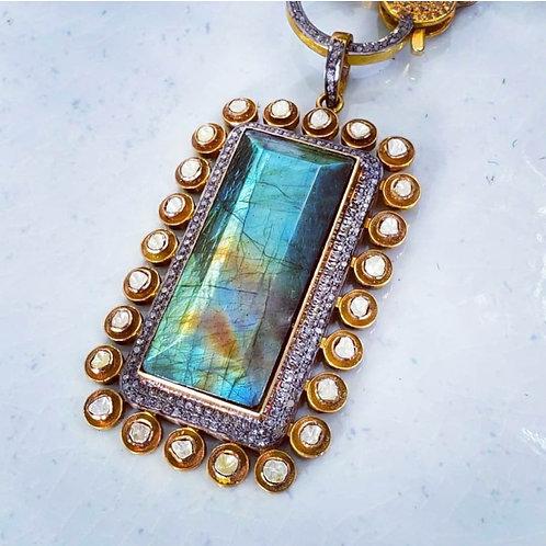 Rosecut and Pave Diamond Labradorite Brass Pendant