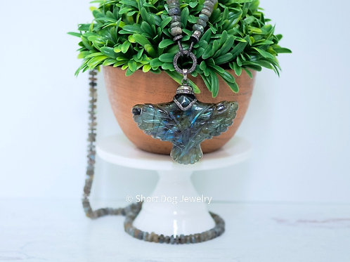 Labradorite Diamond Eagle AND/OR Knotted Labradorite Diamond Clasp Chain Choice