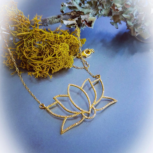 24K Gold Micron and Diamonds Lotus Necklace