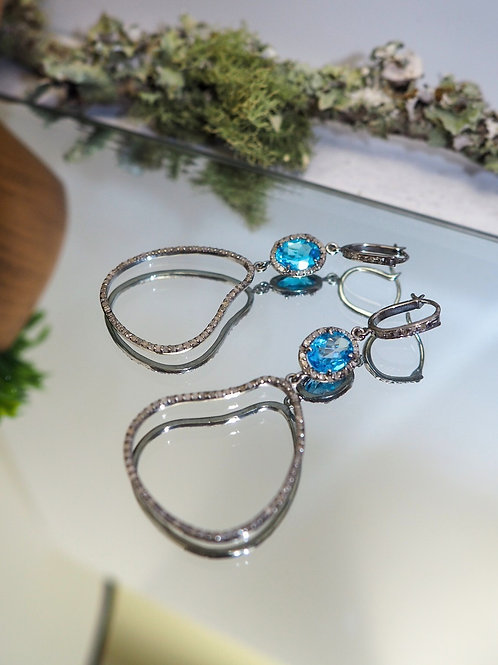 Faceted London Blue Topaz and Diamond Earrings