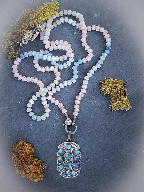 Morganite Faceted Knotted LONG Necklace AND/OR Labradorite and Diamond Tag