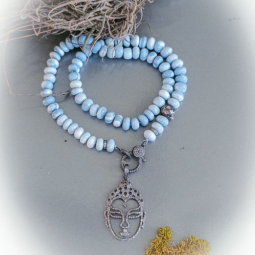 Owyhee Opal Handknotted Necklace with Diamond Clasp and Bead