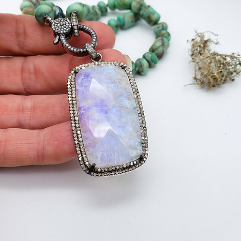 Flashy Rainbow Moonstone and Diamond Pendant