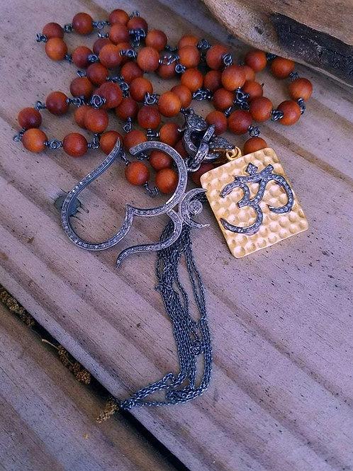 Handwrapped Long Boho Sandalwood & Diamond Clasp Necklace