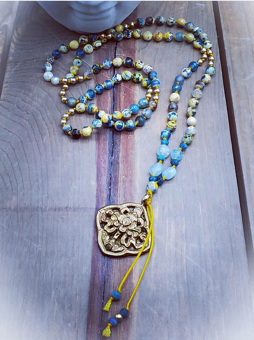 Tibetan Pendant Handknotted Necklace with Tibetan Agate/Aquamarine and 24K Gold