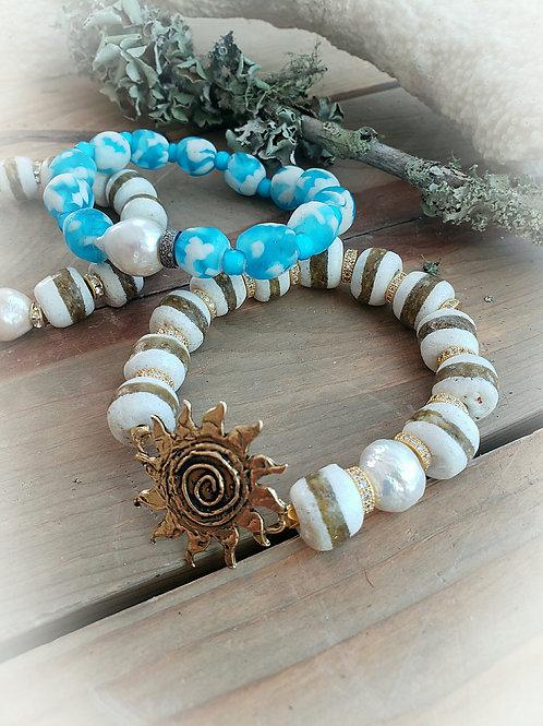 Artisan Bronze Sunburst and Trade Bead Crystal Rondelle Stretch Bracelet