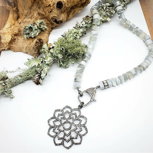 Diamond Lotus Pendant AND/OR Grey Moonstone and Baguette Diamond Clasp Necklace