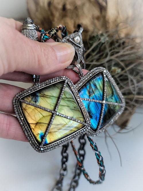Window to the Soul Fiery Labradorite and Diamond Pendant
