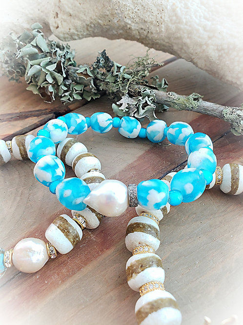 Vibrant Blue and White Fused Glass, Baroque Pearl and Diamond Rondelle Stretch B