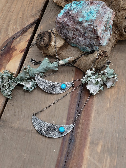 Sterling Silver Diamond Wave with Turquoise cab