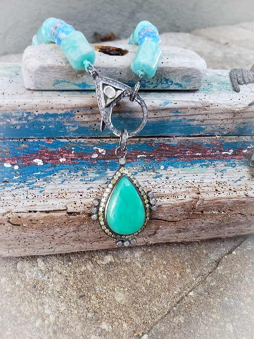Teardrop Amazonite and Faceted Diamond Pendant