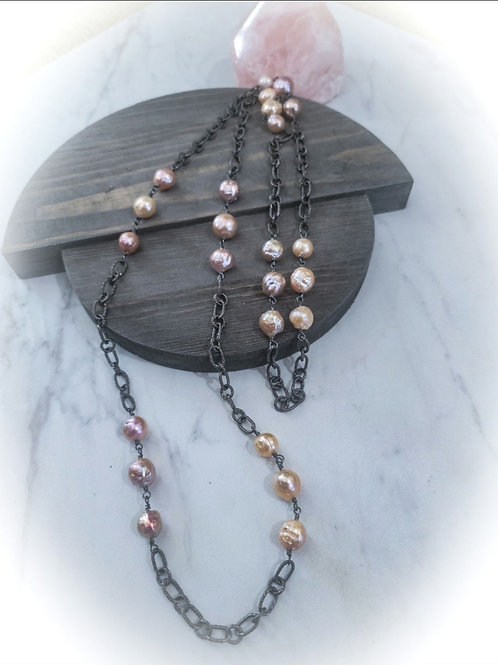 """Edison Pearl and Solid Silver 40"""" Antique Tone Chain"""