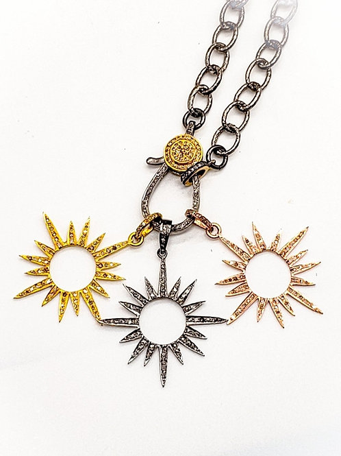 Diamond Starburst Pendant Choice of Oxidized Silver, 24k Gold Vermeil OR Rose Go