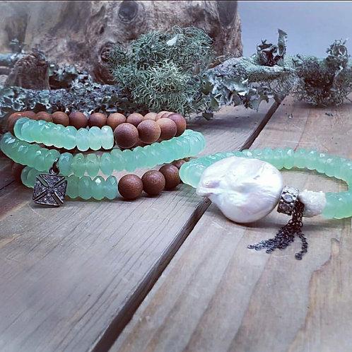 Baroque Pearl with Rosecut Diamond Rondelle and Solar Quartz Chrysoprase Tassel