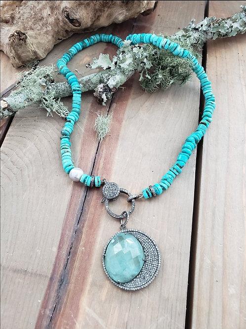 Waning Crescent Moon Pendant - Aquamarine and Diamond Pendant