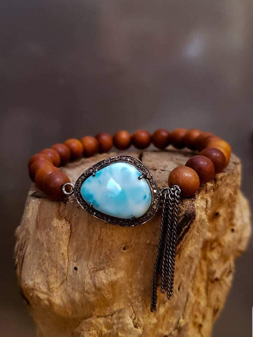 Larimar & Diamond Stretch Bracelet with Sandalwood, Stacking Bracelet, Beach Bri
