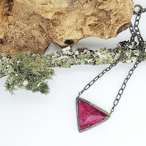 Ruby and Diamond Triangle of Strength Adjustable Necklace